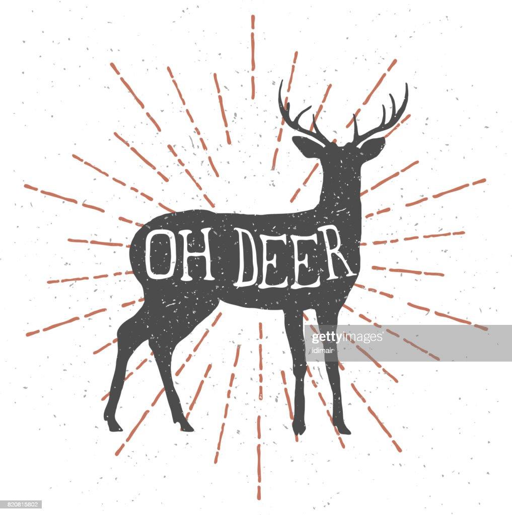 """Hand drawn deer with vintage sunburst and lettering """"oh deer"""""""