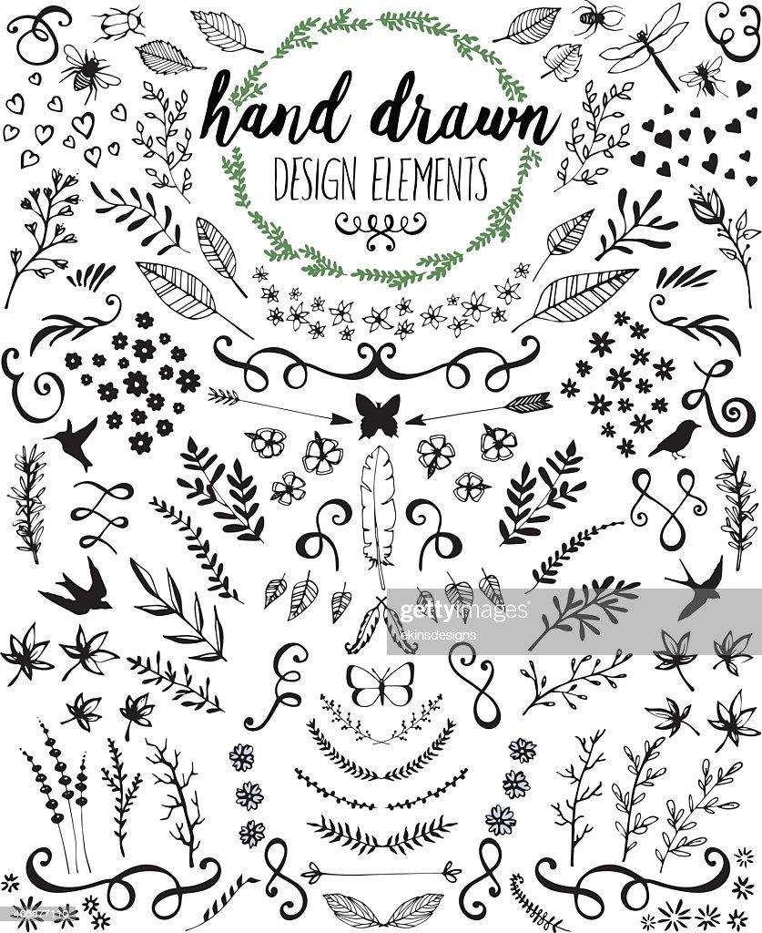 Hand drawn design elements and embellishments in black ink