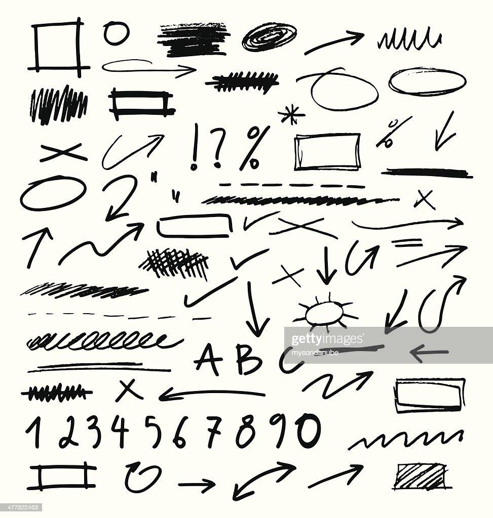 Mão desenhada coleção de Elementos de Design : Ilustração