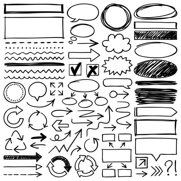 hand drawn design elements - doodle stock illustrations