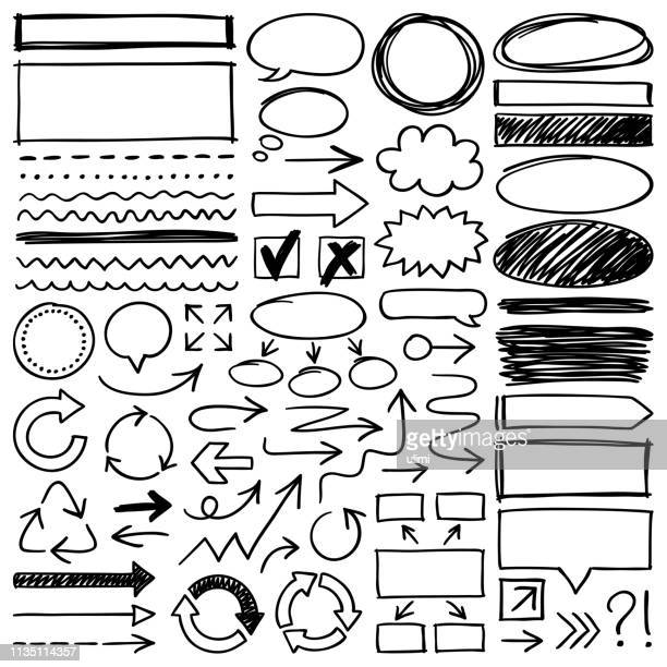 hand drawn design elements - pencil drawing stock illustrations