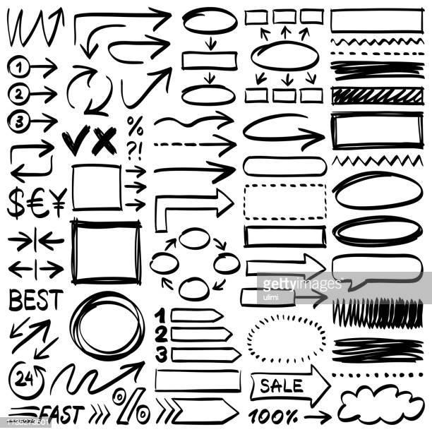 hand drawn design elements - drawn circle stock illustrations