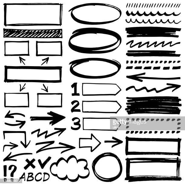 hand drawn design elements - line art stock illustrations