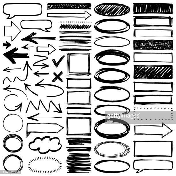 illustrazioni stock, clip art, cartoni animati e icone di tendenza di elementi di design disegnati a mano - rettangolo