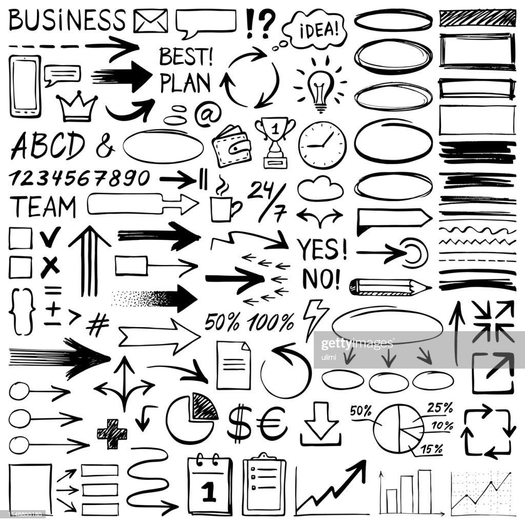 Handgezeichnete Gestaltungselemente : Stock-Illustration