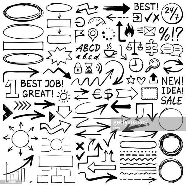 ilustrações, clipart, desenhos animados e ícones de elementos desenhados mão do projeto - caligrafia