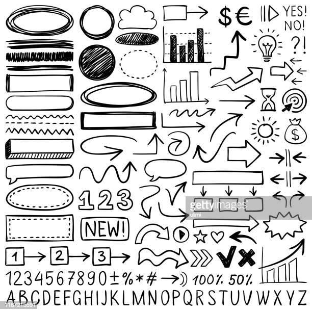 handgezeichnete designelemente - zahl stock-grafiken, -clipart, -cartoons und -symbole