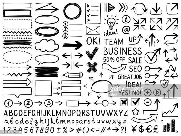 illustrazioni stock, clip art, cartoni animati e icone di tendenza di elementi di design disegnati a mano - disegnare