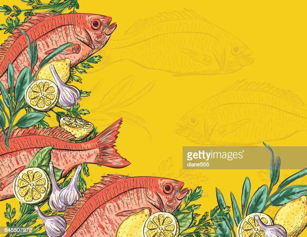 Hand Drawn Detailed Fish And Vegetables
