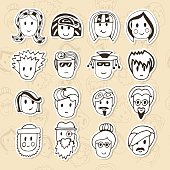 Hand drawn different funny faces. Doodle vector avatars set