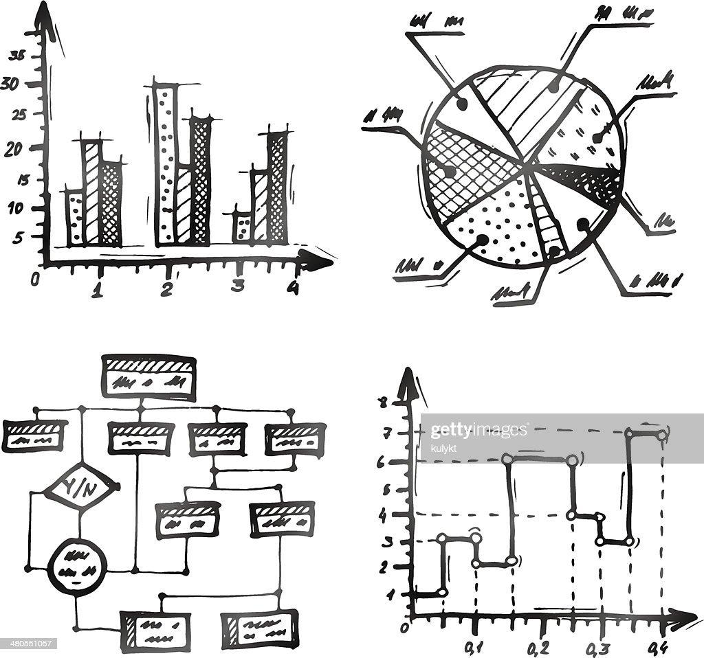 Mão desenhada diferentes tipos de infographics : Arte vetorial