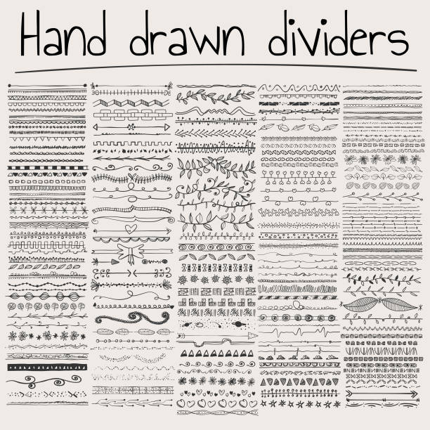hand drawn dividers - doodle stock illustrations