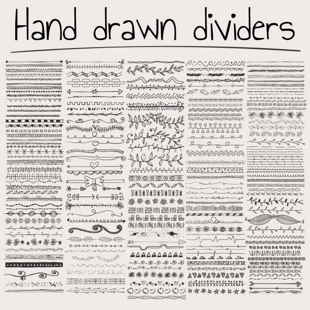 hand drawn dividers - pencil drawing stock illustrations
