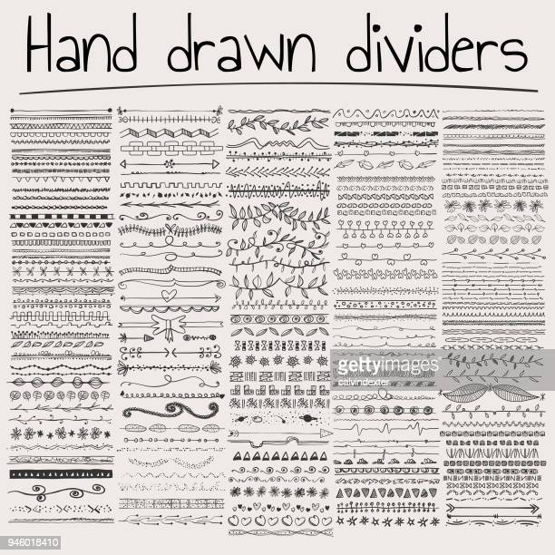 hand drawn dividers - pencil drawing stock illustrations