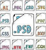 hand drawn documents program formats  icons