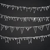 Hand drawn doodle bunting flags set.