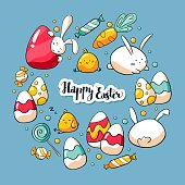 Hand drawn doodle card template with cute Easter elements. Vector illustration. Happy Easter lettering.