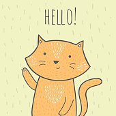hand drawn doodle card with a cat that says hello