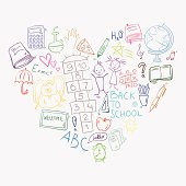 hand drawn doodle colorful school icons arranged in heart shape