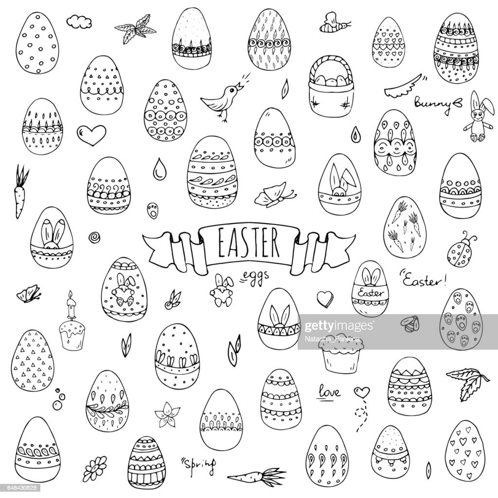 Hand drawn doodle Easter icons set Vector illustration spring bunny symbols collection Cartoon decoration elements: egg, rabbit, basket, bird, carrot, butterfly, bunny footprint, hunting eggs, hearts