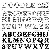 Hand drawn doodle font family N8. Vector illustration.