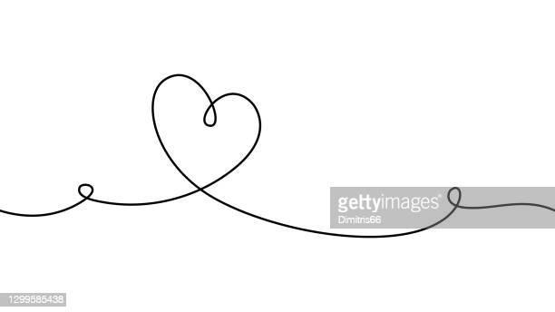 hand gezeichnet doodle herz. der strich kann bearbeitet werden, sodass sie ihn dünner oder dicker machen können. kontinuierliche nahtlose linienzeichnung. - lineart stock-grafiken, -clipart, -cartoons und -symbole