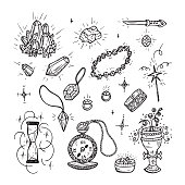 Hand Drawn Doodle Magic Vector Set. Precious Treasures collection: Gold Jewelry, Crystals, Gems, Diamonds