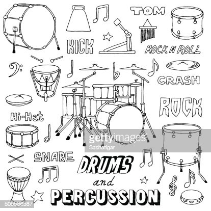 hand drawn doodle musical instruments drums and percussion vector illustration vector art. Black Bedroom Furniture Sets. Home Design Ideas