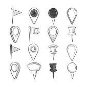 Hand drawn doodle navigation pins set