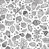 Hand drawn doodle Ornamental Acorns and oak leaves seamless pattern