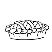Hand drawn doodle pie black and white icon