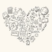 hand drawn doodle school icons arranged in heart shape