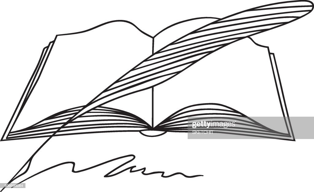 Hand Drawn Doodle Sketch Line Art Vector Illustration of Opened Book and Quill. Student Course Literature Emblem Poster Banner Black Outline Design Element