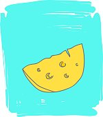 Hand drawn doodle sketch line art vector illustration of wedge of yellow cheese on blue painbrush strokes background. Retro style pastel colors. Food poster design element template