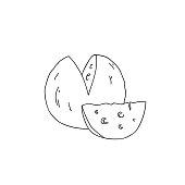 Hand Drawn Doodle Sketch Line Art Vector Illustration of Wheel and Wedge of Cheese. Emblem Poster Banner Black Outline Design Element