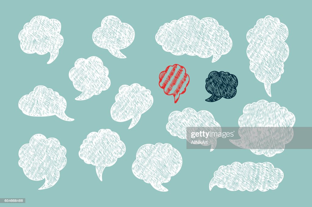 Hand Drawn doodle Speech and thought Bubbles. Pencil hatching. Vector illustration