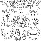 Hand Drawn Doodle Wedding Vector Set with Dress and Monogram