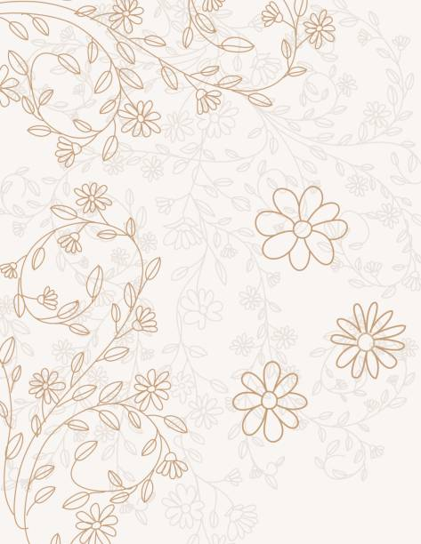 hand drawn doodled floral vines invitation template - femininity stock illustrations