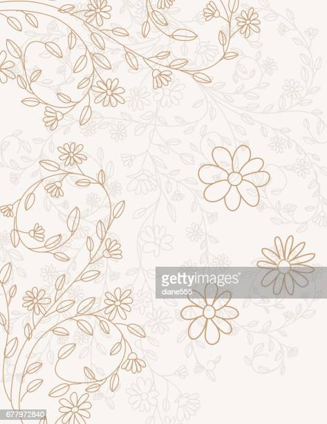 hand drawn doodled floral vines invitation template - girly wallpapers stock illustrations