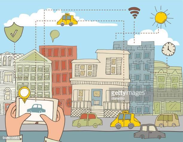 illustrazioni stock, clip art, cartoni animati e icone di tendenza di smart cities doodled disegnate a mano - città intelligente