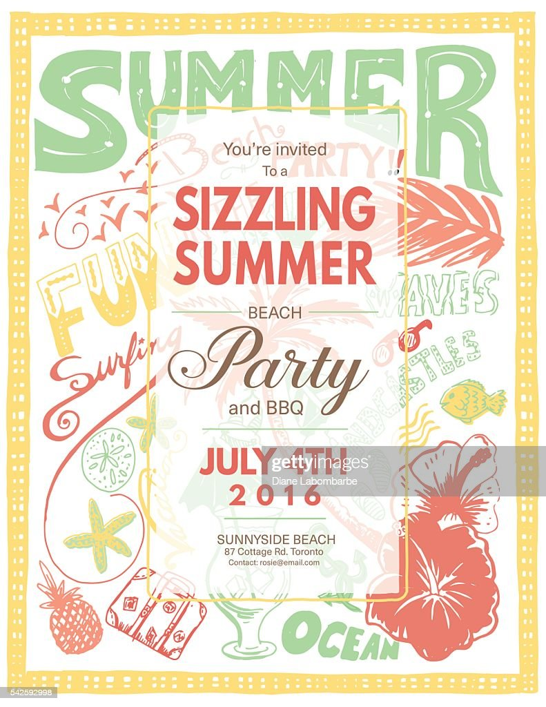 Hand Drawn Doodled Summer Beach Party Invite Vector Art | Getty Images