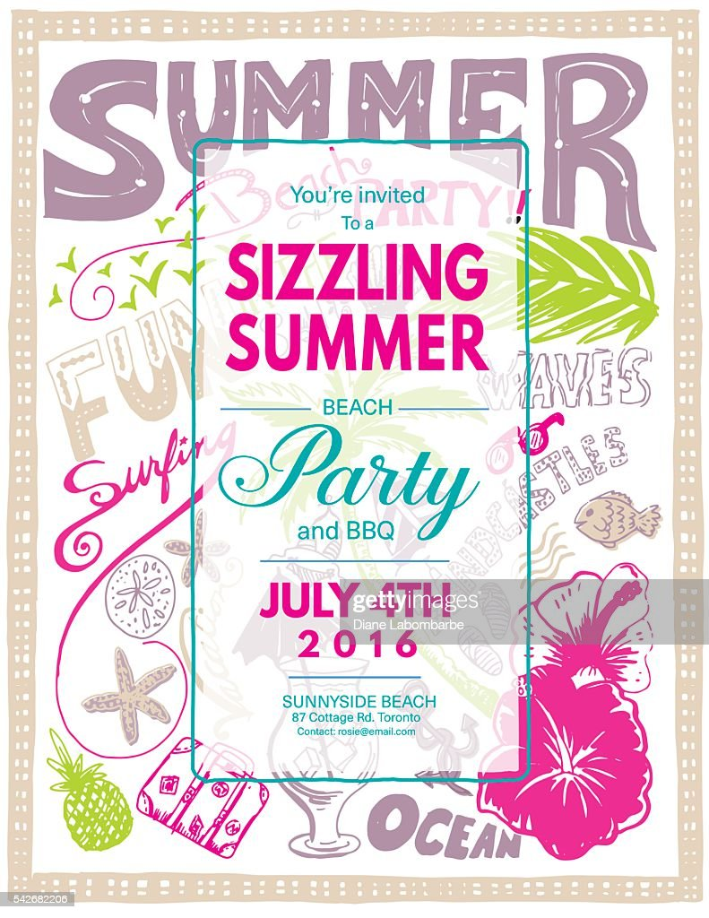 hand drawn doodled summer beach party invite vector art getty images