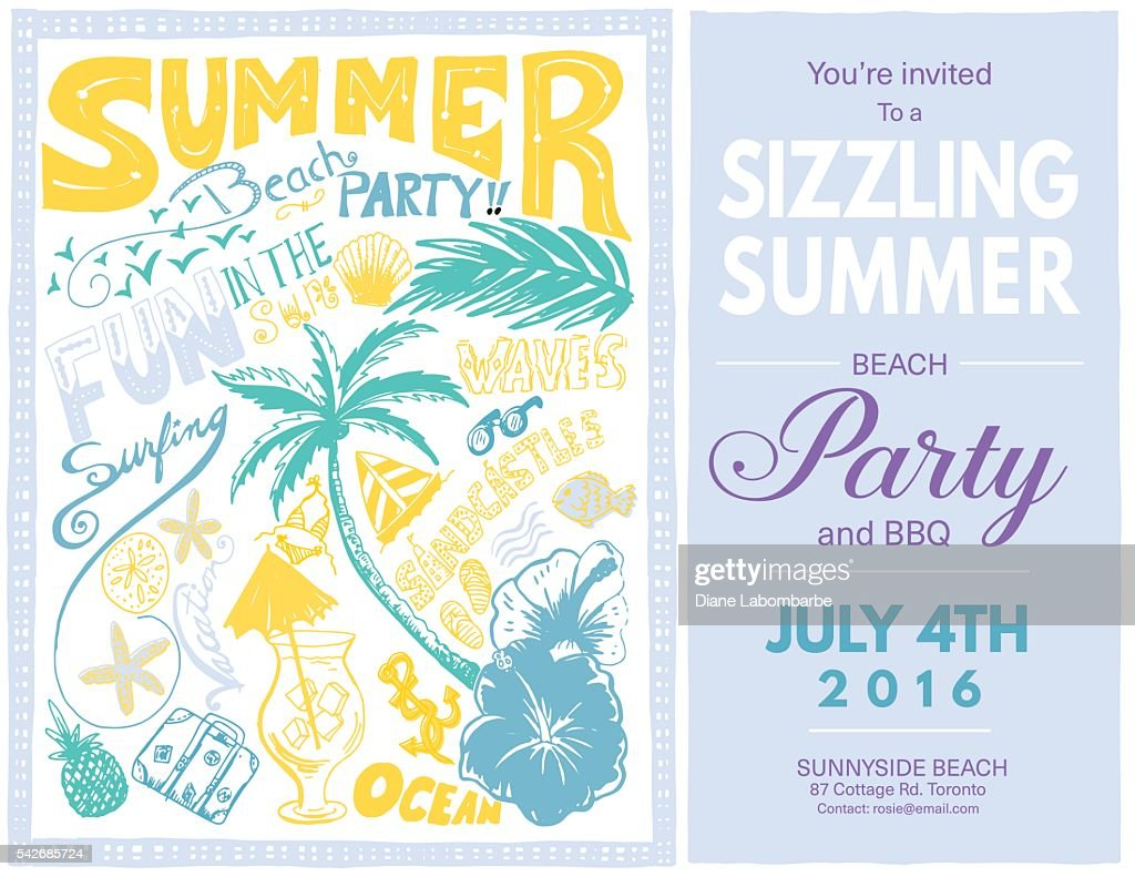 Hand Drawn Doodled Summer Beach Party Invite