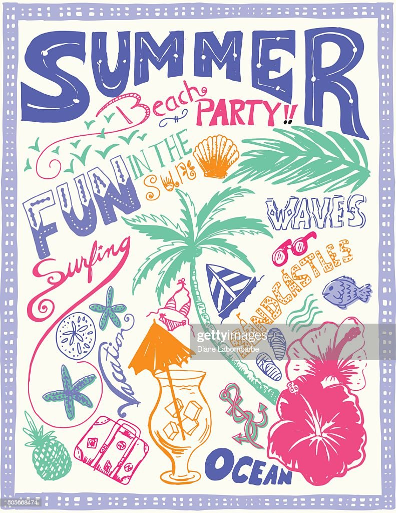Hand Drawn Doodled Summer Beach Tropical Elements