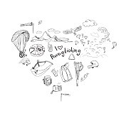 Hand drawn doodles and I love paragliding