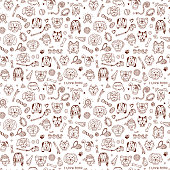 Hand Drawn Doodles Dogs and accessories for pets Seamless pattern