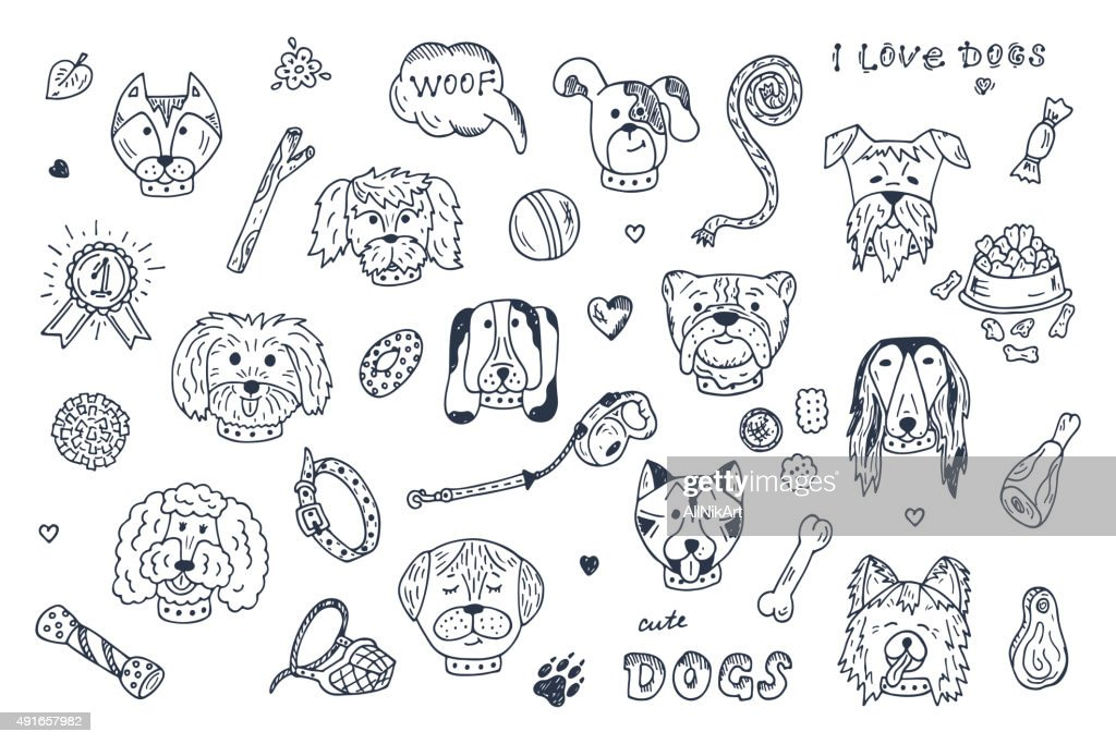 Hand Drawn Doodles Dogs and accessories for pets Vector Set