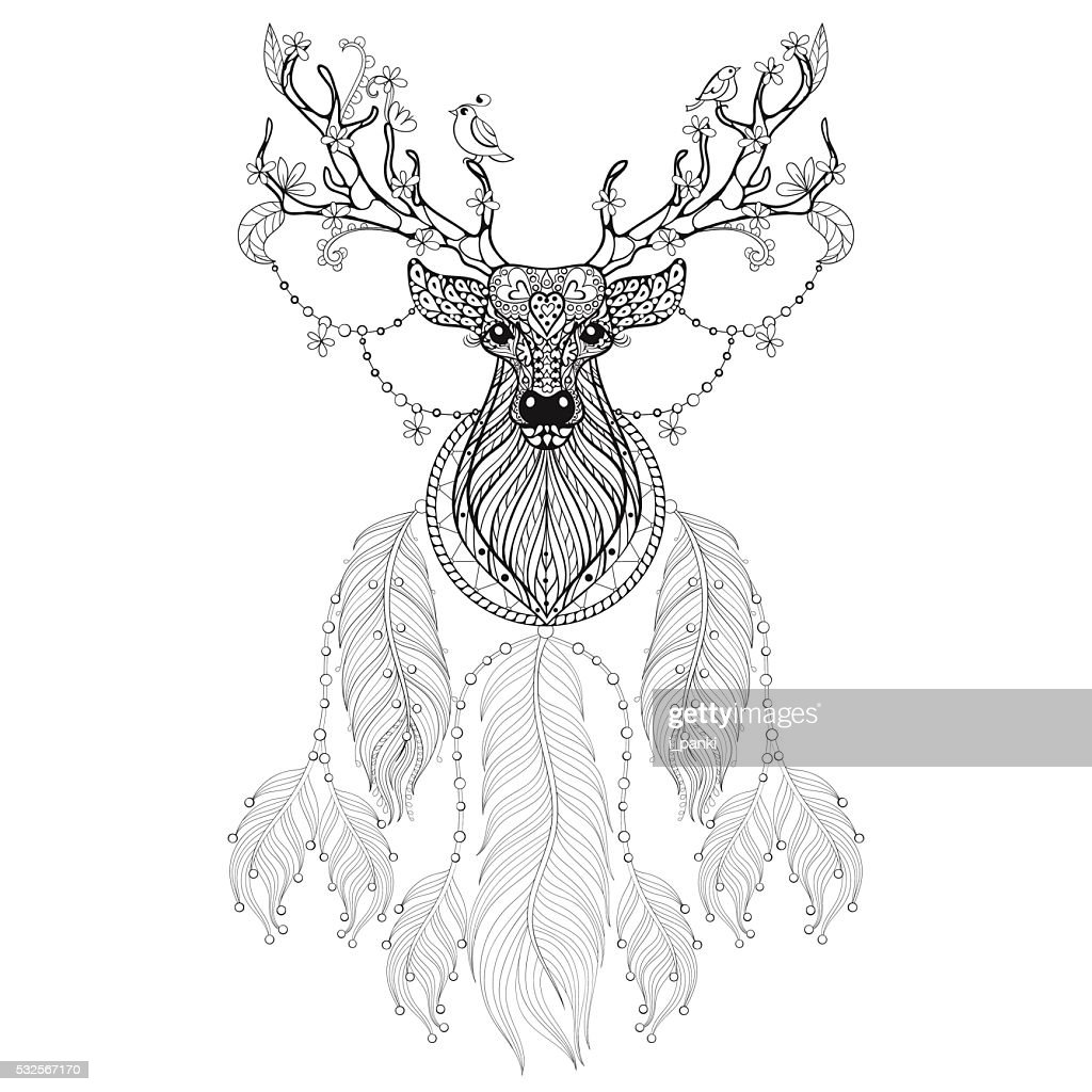 Hand drawn  Dreamcatcher with tribal Hprned Deer with f