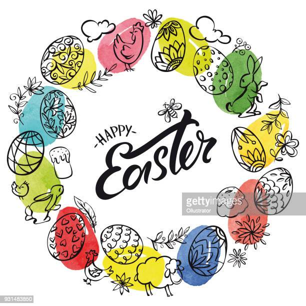 hand drawn easter elements wreath and watercolor eggs in the background - easter bunny stock illustrations