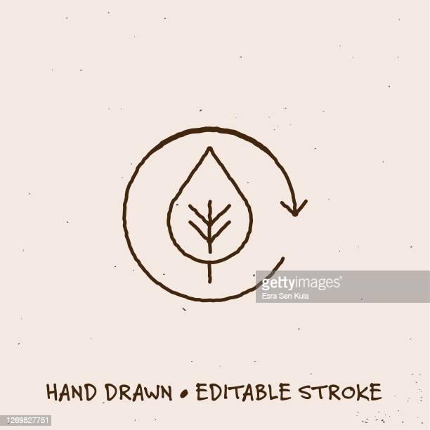 illustrations, cliparts, dessins animés et icônes de icône de ligne d'écologie dessinée à la main avec trait modifiable - questions environnementales